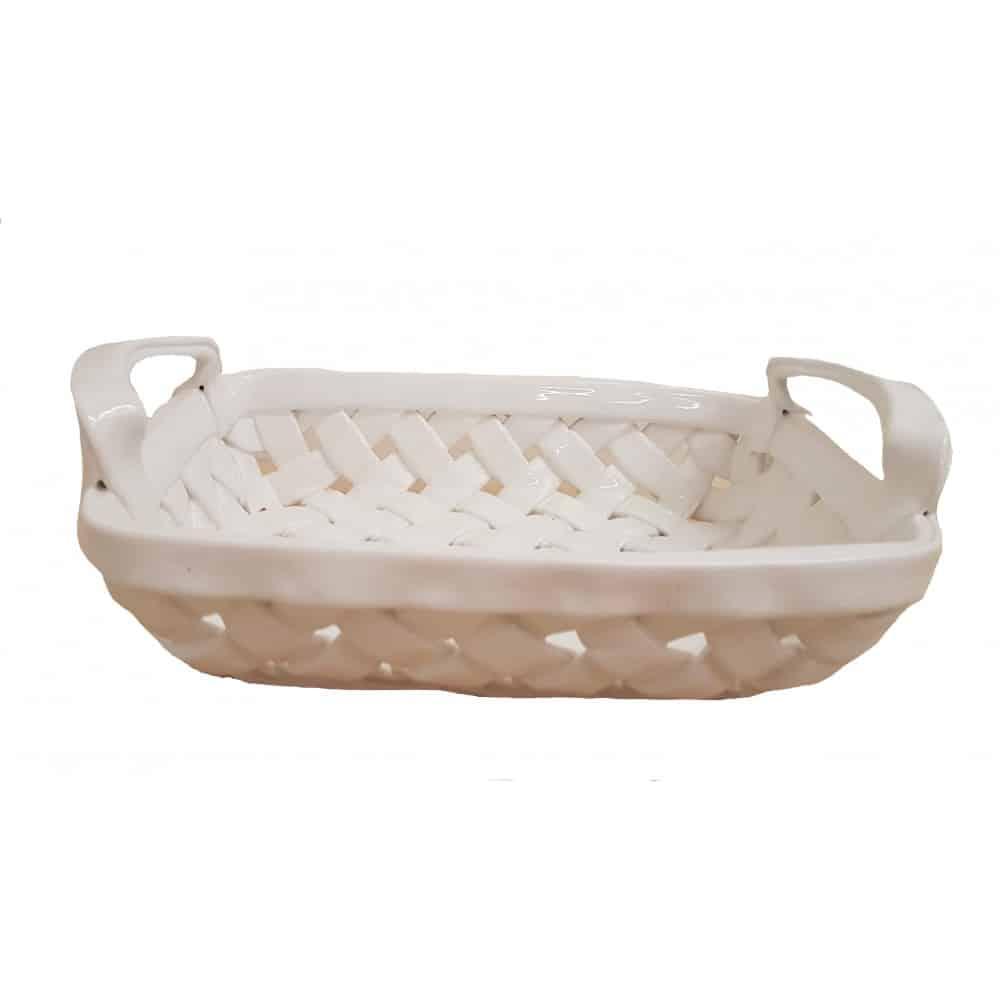 Biely ručne prepletaný košík z keramiky