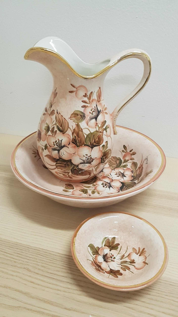 Keramický ručne maľovaný umývací set