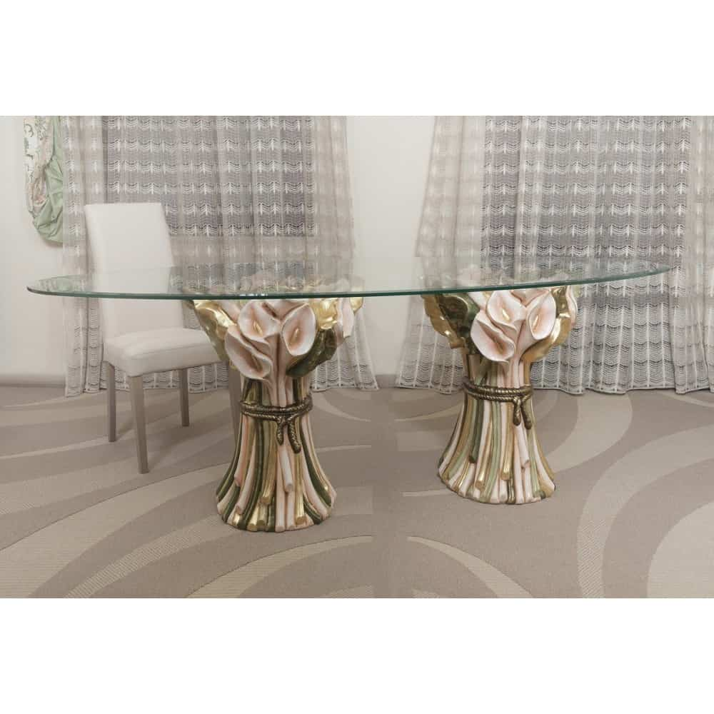 Taliansky jedálenský stôl z keramiky a skla