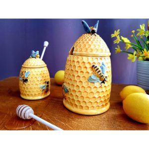 Keramická nádoba na med s paličkou