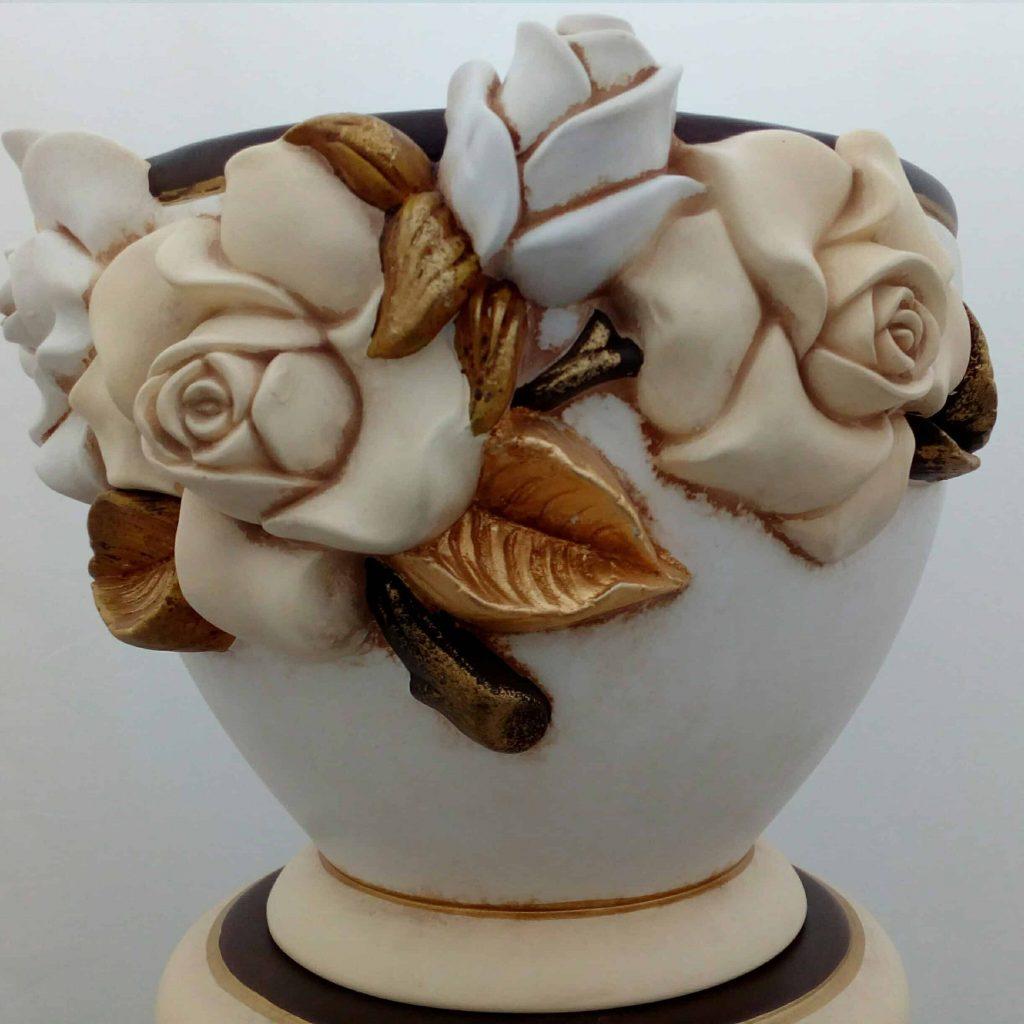 Keramický kvetináč a keramický stĺp RUŽA BROWN