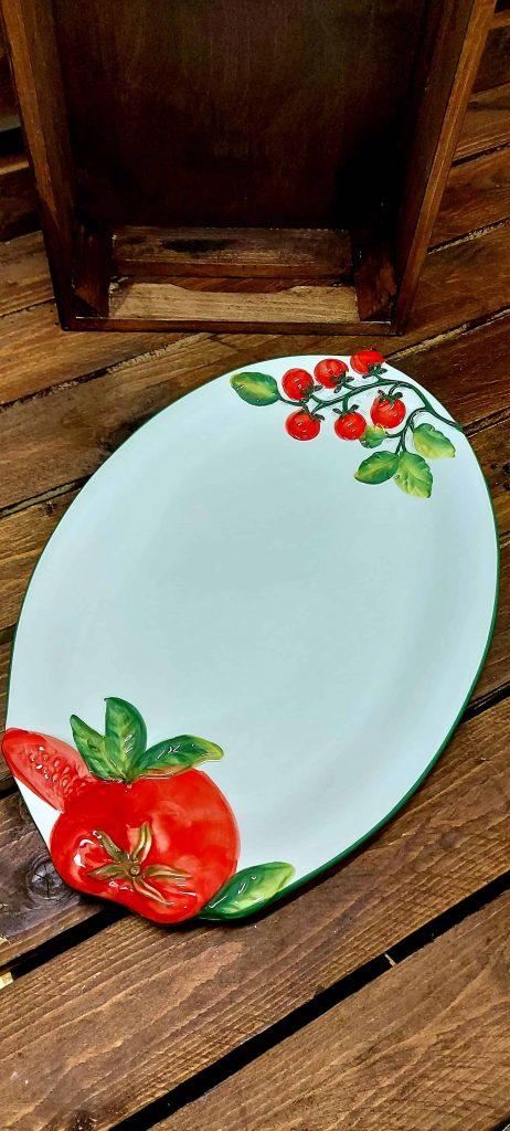 Veľký oválny keramický podnos s motívom paradajka 43/30