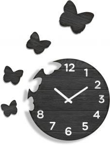 Butterfly dizajnové nástenné hodiny z dreva ŠEDÉ/HNEDÉ