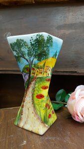 Keramická váza a podnos s ručnou maľbou