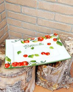Obdĺžnikový keramický a plytký tanier MOZZARELLA PARADAJKA