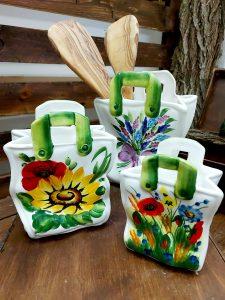 Keramické vázičky nádobky v tvare keramickej tašky