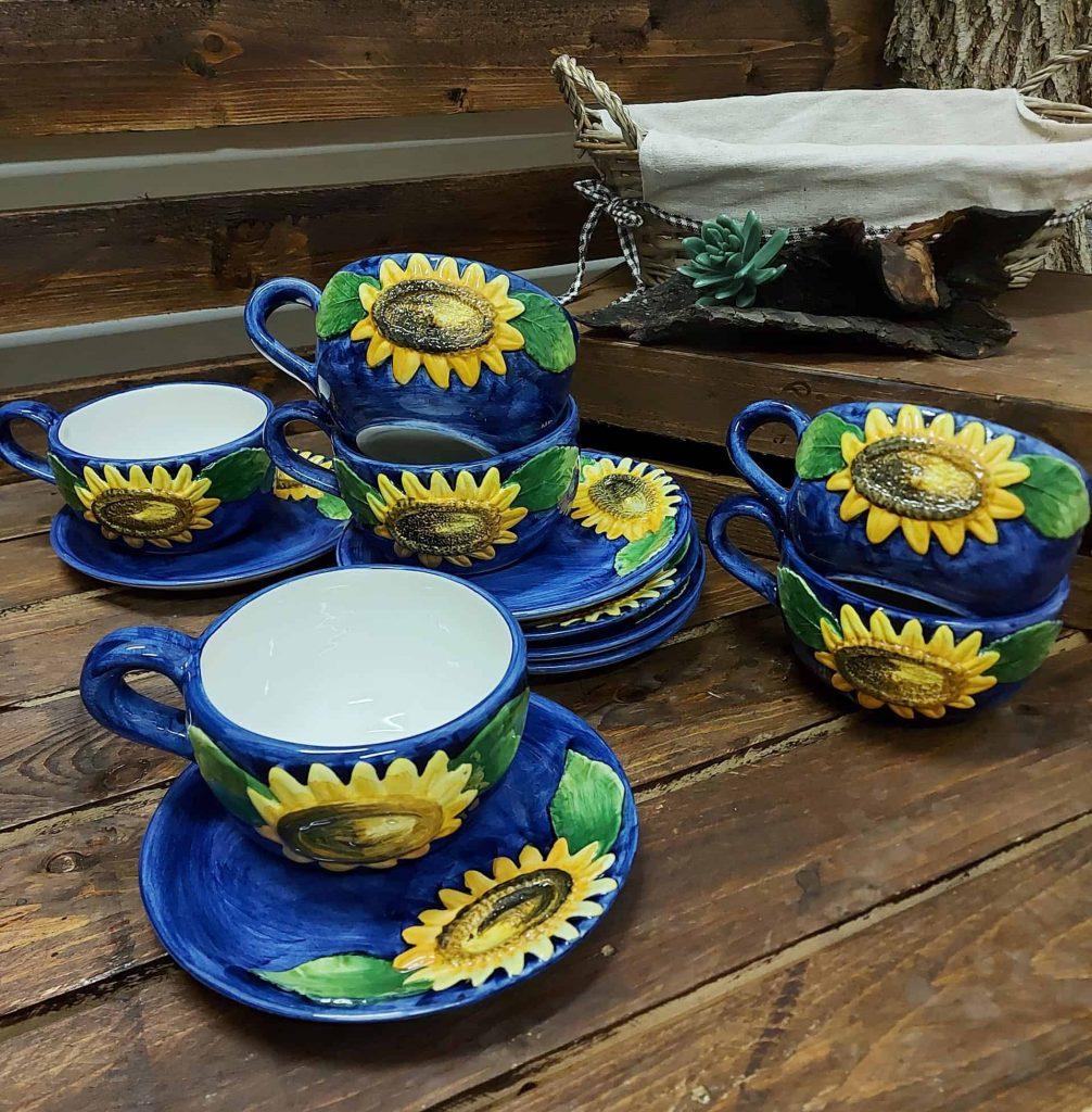 Keramický set s modrým podkladom vzor SLNEČNICA